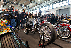 Radikal Choppers' BMW with beautifully formed body work by Andrea Radaelli of Italy in the finals of the MBE Award at Motor Bike Expo (MBE) bike show. Verona, Italy. Friday, January 17, 2020. Photography ©2020 Michael Lichter.