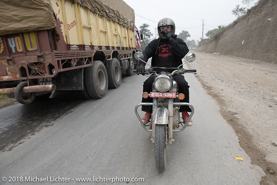 Beanre (Kevin Doebler) on day-9 of our Himalayan Heroes adventure riding from Pokhara to Nuwakot, Nepal. Wednesday, November 14, 2018. Photography ©2018 Michael Lichter.