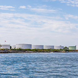 Petroleum tanks on the shore of Casco Bay in South Portland, Maine.