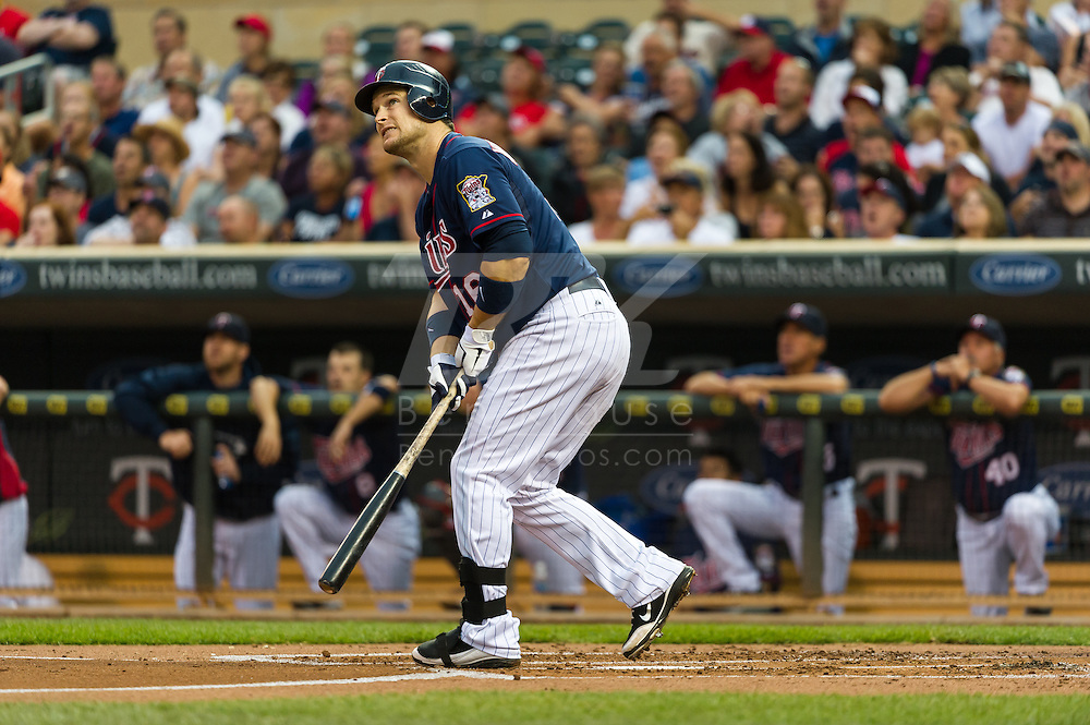 Minnesota Twins left fielder Josh Willingham watches the ball land foul during an at-bat against the Oakland Athletics on July 13, 2012 at Target Field in Minneapolis, Minnesota.  The Athletics defeated the Twins 6 to 3.  © 2012 Ben Krause