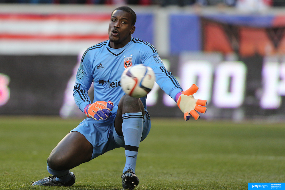 Goalkeeper Bill Hamid, D.C. United, is beaten by Lloyd Sam's shot for the New York Red Bulls second goal during the New York Red Bulls Vs D.C. United, Major League Soccer regular season opening match at Red Bull Arena, Harrison, New Jersey. USA. 22nd March 2015. Photo Tim Clayton