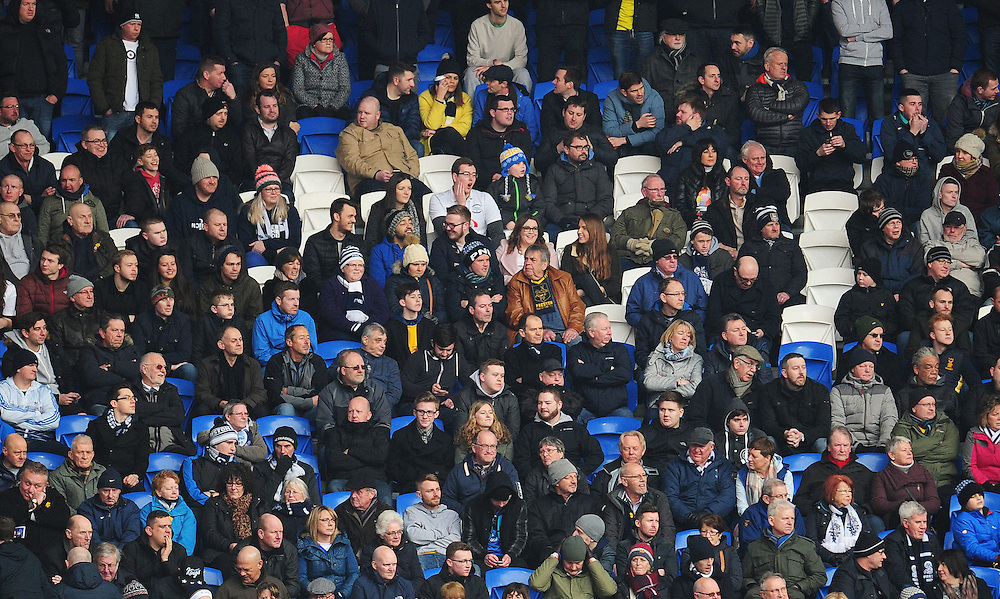 Preston North End fans during todays match<br /> <br /> Photographer Kevin Barnes/CameraSport<br /> <br /> Football - The Football League Sky Bet Championship - Cardiff City v Preston North End - Saturday 27th February 2016 -  Cardiff City Stadium - Cardiff<br /> <br /> © CameraSport - 43 Linden Ave. Countesthorpe. Leicester. England. LE8 5PG - Tel: +44 (0) 116 277 4147 - admin@camerasport.com - www.camerasport.com