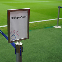 06.11.2019, BayArena, Leverkusen, Championsleague, Vorrunde, 4. Spieltag, GER, UEFA  CL, Bayer 04 Leverkusen (GER) vs. Atletiko Madrid (ESP),<br />  <br /> DFL regulations prohibit any use of photographs as image sequences and/or quasi-video<br /> <br /> im Bild / picture shows: <br /> reservierte Interviewplaetze <br /> <br /> Foto © nordphoto / Meuter<br /> <br /> <br /> <br /> Foto © nordphoto / Meuter