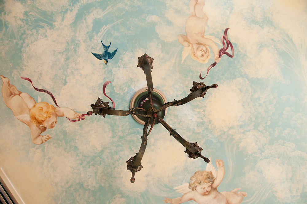 A celing mural in the Sky Room of The Landmark Inn an historic hotel in Marquette Michigan.