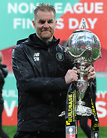 Football - 2019 / 2020 Buildbase FA Trophy - Final - Concord Rangers vs Harrogate Town - Wembley Stadium<br /> <br /> Harrogate Manager Simon Weaver with the trophy<br /> <br /> Credit : COLORSPORT/ANDREW COWIE