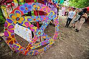 Henham Park, Suffolk, 19 July 2019. An Extinction Rebellion Camp in The Faraway Forest - The 2019 Latitude Festival.