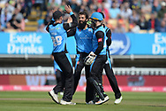 Moeen Ali,Tom Fell and Ben Cox of Worcestershire Rapids celebrate the wicket of Jos Buttler during the Vitality T20 Finals Day Semi Final 2018 match between Worcestershire Rapids and Lancashire Lightning at Edgbaston, Birmingham, United Kingdom on 15 September 2018.