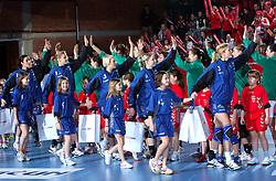 Sanja Damjanovic, Barbara Varlec, Dijana Golubic, Tamara Mavser and Spela Cerar before EHF Champions league handball match in Group II between RK Krim Mercator and Gyori Audi Eto KC, on February 7, 2009, in Kodeljevo, Ljubljana, Slovenia. Gyori won 35:31. (Photo by Vid Ponikvar / Sportida)