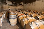 Barrel aging cellar. Chateau Nairac, Barsac, Sauternes, Bordeaux, France