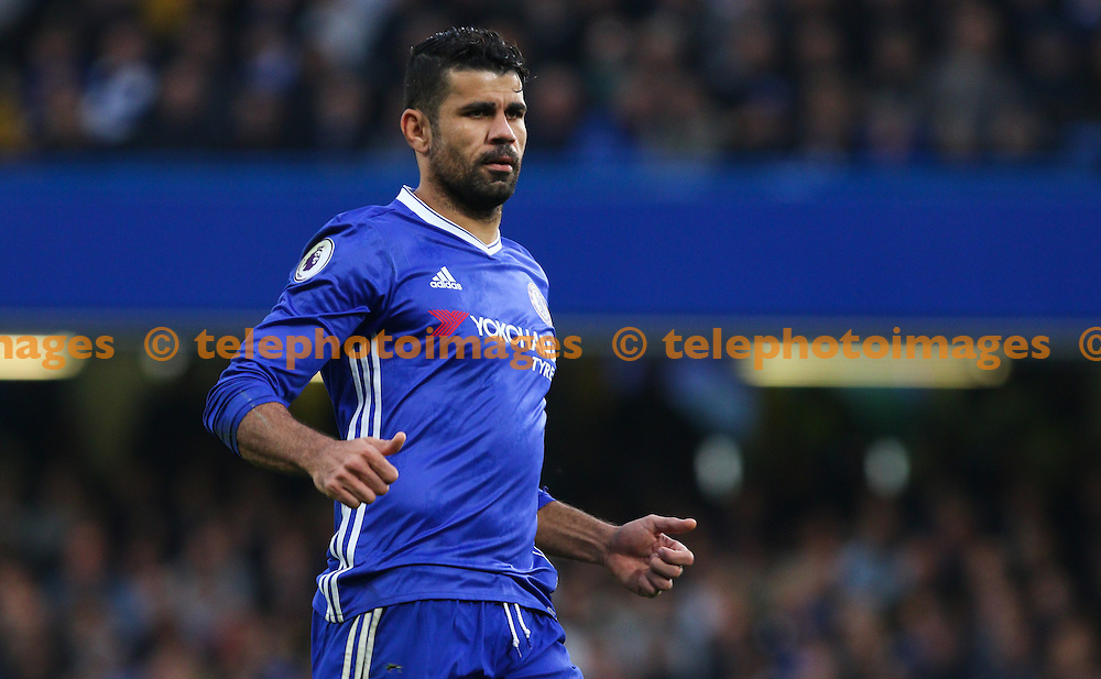 Diego Costa of Chelsea during the Premier League match between Chelsea and Manchester United at Stamford Bridge in London. October 23, 2016.<br /> Arron Gent / Telephoto Images<br /> +44 7967 642437