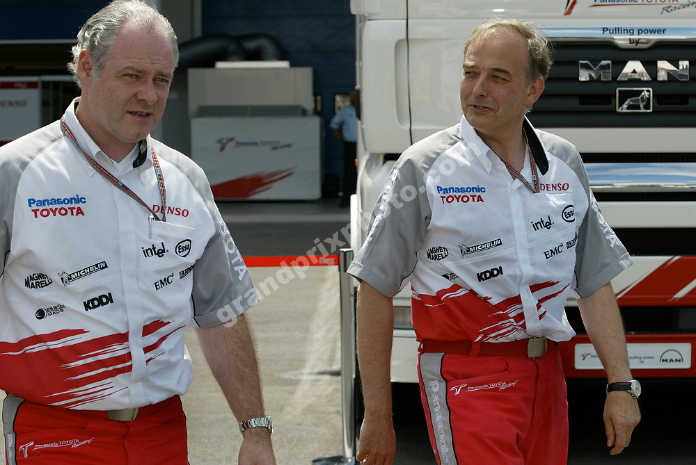 Toyota's John Howett and Richard Cregan after practice for the 2005 Turkish Grand Prix at Istanbul Park. Photo: Grand Prix Photo