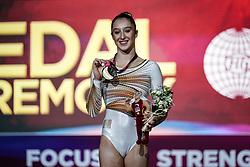 November 2, 2018 - Doha, Qatar - Nina Derwael of Belgium with the gold medal for uneven bars at the Aspire Dome in Doha, Qatar, Artistic FIG Gymnastics World Championships on 2 of November 2018. (Credit Image: © Ulrik Pedersen/NurPhoto via ZUMA Press)