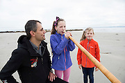 06/09/2016 REPRO FREE:   Olivia and Sophie Currie from Renmore with  the alphorn and Stefan Kaiser who launch the Music for Galway's new International Concert Season 'Aimez-vous Brahms?' opening on September 28th and running until May 18th including main concert series, Lunchtime series and Midwinter Festival.  Photo:Andrew Downes, XPOSURE.
