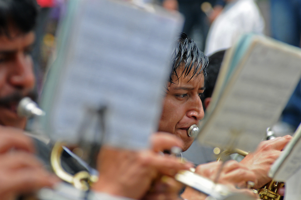 Apr 21, 2011 - Quetzaltenago, Guatemala - Playing funeral marches the band accompanying the Procession of the Just Judge walks slowly behind the Saint Statues. The Procession of the Just Judge will take the Saint Statues to the President of the Nazarene brotherhood's home, before being brought back to the Cathedral Friday..(Credit Image: © Josh Bachman/ZUMA Press)