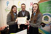 24/11/2019 repro free:  Paul Mee Galway Science and Technology Chairman Leona Loughlin and Saoirse Duggan Presentation College Headford  at  the Galway Science and Technology Festival  at NUI Galway where over 20,000 people attended exhibition stands  from schools to Multinational Companies . Photo:Andrew Downes, xposure