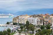 Kerkyra, Corfu Town and harbour with Norwegian Jade cruise liner ship in Ionian Sea, Corfu, Ionian Islands, Greece