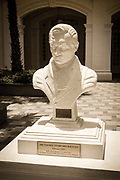 Marble statue of Sir Thomas Stamford Raffles (founder of modern Singapore) at the Raffles Hotel, Singapore, Republic of Singapore