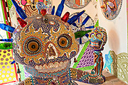 Multi layered assemblage skulls at the Chapel of Jimmy Ray by American artist Anado McLauchlin in his compound Casa las Ranas September 28, 2017 in La Cieneguita, Mexico.
