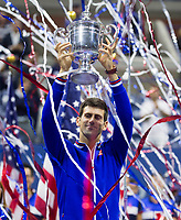 Novak Djokovic of Serbia celebrates with the trophy during Men's final of Tennis US Open at Flushing Meadow stadium in New York, USA, on september 13, 2015 -  Photo Mike Frey / BPI / DPPI
