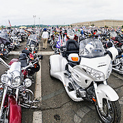 With the Pentagon in the background, this panorama shows hundreds of bike parked in the Pentagon's south parking lot before the annual Rolling Thunder Multicycle Rally on May 29, 2011.