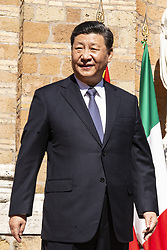 March 23, 2019 - Italy - Xi Jinping, China's president   arrives at Villa Madama for the memorandum of understanding on China's Belt and Road Initiative at Villa Madama in Rome, Italy, on Saturday, March 23, 2019. (Credit Image: © Giulia Morici/Pacific Press via ZUMA Wire)