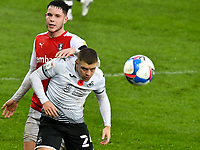 Football - 2020 / 2021 Sky Bet Championship - Swansea City vs Rotherham United - Liberty Stadium<br /> <br /> Jake Bidwell Swansea City  heads clear in a match played without fans<br /> <br /> COLORSPORT/WINSTON BYNORTH