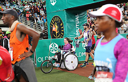 10062018 (Durban) A wheelchair bound athletesh who made it to the finnish line at the Mosses Mabhida stadium venue during the Comrades Marathon on Sunday as Bong'musa Mthembu and Ann Ashworth ensured that the coveted titles remained on these shores.<br /> Picture: Motshwari Mofokeng/African News Agency/ANA