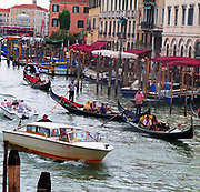 Gondolas Sailing Along the Grand Canal in Venice. 2013.
