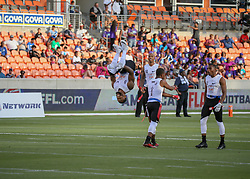 July 19, 2018 - Houston, TX, U.S. - HOUSTON, TX - JULY 19:  Fighting Cancer center Robert Myers (9) does a flip as he enters the field during the American Flag Football League Ultimate Final game between the Fighting Cancer and Godspeed on July 19, 2018 at BBVA Compass Stadium in Houston, Texas.  (Photo by Leslie Plaza Johnson/Icon Sportswire) (Credit Image: © Leslie Plaza Johnson/Icon SMI via ZUMA Press)
