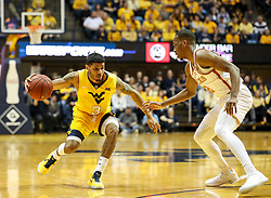 Jan 20, 2018; Morgantown, WV, USA; West Virginia Mountaineers guard James Bolden (3) dribbles during the second half against the Texas Longhorns at WVU Coliseum. Mandatory Credit: Ben Queen-USA TODAY Sports