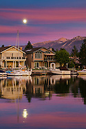 Boats and waterfront homes in the Tahoe Keys community, South Lake Tahoe, California