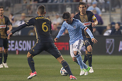 April 14, 2017 - Chester, PA, United States of America - New York City FC Attacker DAVID VILLA (7) dribbles pass Philadelphia Union Midfielder HARIS MEDUNJANIN (6) in the first half of a Major League Soccer match between the Philadelphia Union and New York City FC Friday, Apr. 17, 2016 at Talen Energy Stadium in Chester, PA. (Credit Image: © Saquan Stimpson via ZUMA Wire)