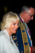 HRH The Duchess of Cornwall arrives at the Abbey - on behalf of Her Majesty The Queen, she attends a Solemn Commemoration on the Centenary of the Outbreak of the First World War at Westminster Abbey. The candle-lit Vigil concludes the commemorations by Members of the Royal Family on 4th August. She was met by the Dean of Westminster at the West Gate. The Abbey faded into darkness during the service. Her Royal Highness extinguished the final flame at the Grave of the Unknown Warrior at 11pm to mark the exact moment at which war was declared.