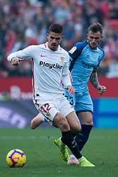 December 16, 2018 - Seville, Andalucia, Spain - Andre Silva of Sevilla Fc and Aleix Garcia of Girona competes for the ball during the LaLiga match between Sevilla FC and Girona at Estadio Ramón Sánchez Pizjuán on December 16, 2018 in Seville, Spain  (Credit Image: © Javier MontañO/Pacific Press via ZUMA Wire)