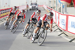 February 24, 2019 - Abu Dhabi, UNITED ARAB EMIRATES - Lotto Soudal riders pictured at the first stage of the 'UAE Tour' 2019 cycling race, a 16km team time trial on the Al Hudayriat Island in Abu Dhabi, United Arab Emirates, Sunday 24 February 2019. This year's edition is taking place from 24 February to 2 March. ..BELGA PHOTO YUZURU SUNADA FRANCE OUT (Credit Image: © Yuzuru Sunada/Belga via ZUMA Press)