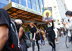 Protesters walk front of The Trump International Hotel near Columbus Circle over the death of George Floyd in New York City, NY, USA, on May 30, 2020. Photo by Charles Guerin/ABACAPRESS.COM