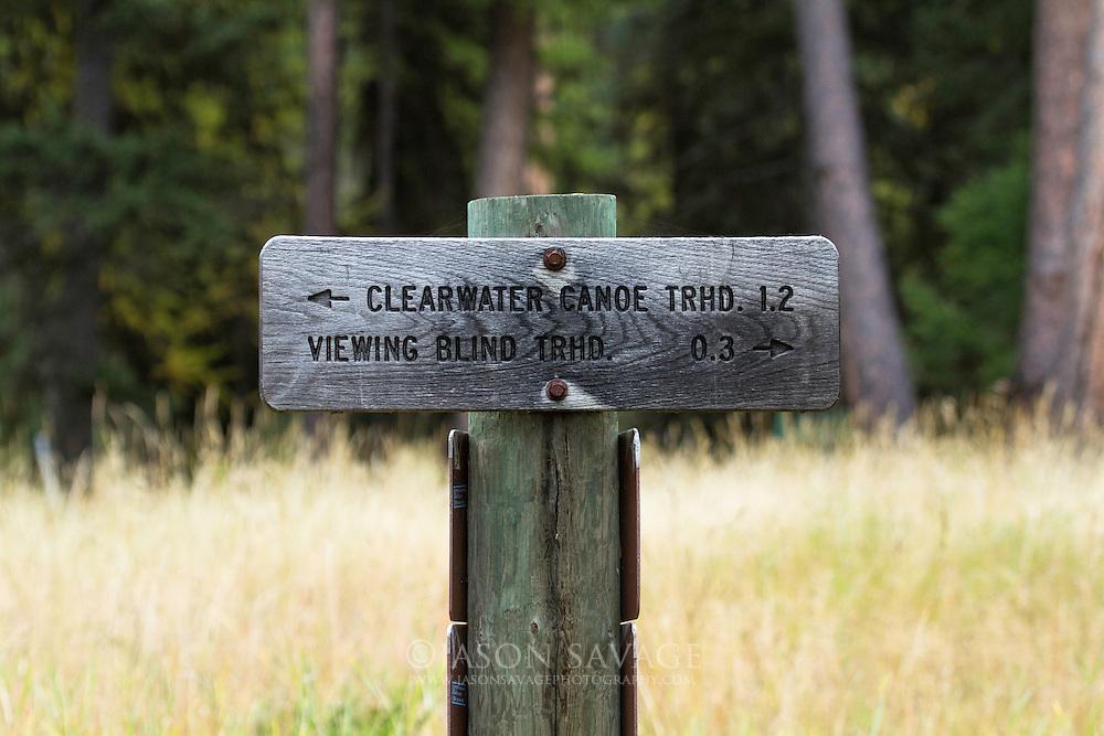 Clearwater Canoe Trail sign, Seeley Lake, Montana.
