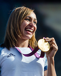 © Licensed to London News Pictures. 05/08/2012. London, UK.     Team GB gold medal winning heptathlete Jessica Ennis on-stage at BT London Live, Hyde Park. Jessica won the golda medal yesterday. Jessica was interviewed by Absolute Radio presenter Johnny Vaughan.  Photo credit : Richard Isaac/LNP