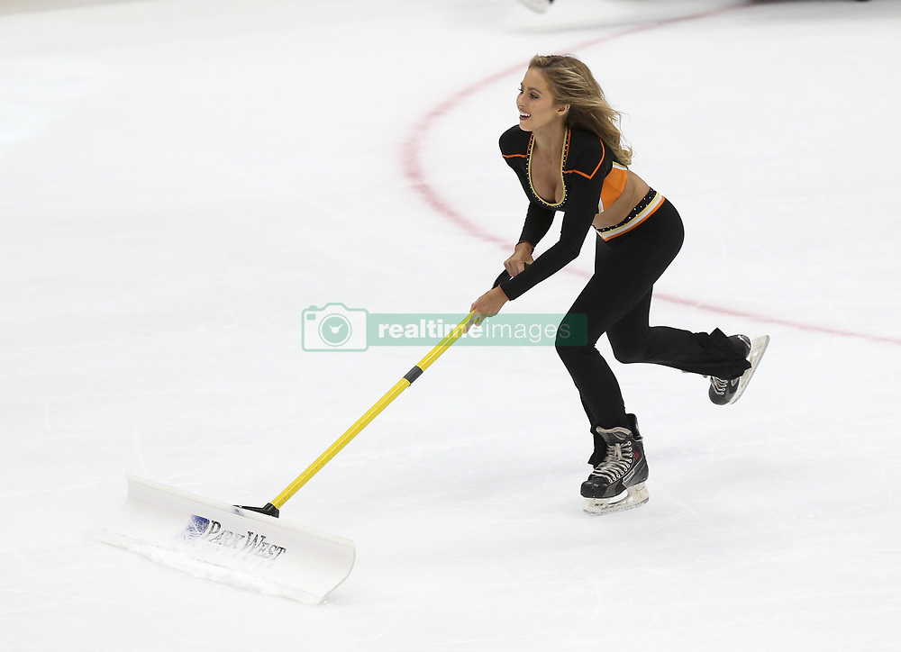 November 7, 2017 - Los Angeles, California, U.S - A Ducks ice girl cleans the ice during stoppage time in a 2017-2018 NHL hockey game between Los Angeles Kings and Anaheim Ducks in Anaheim, California on Nov. 7, 2017. Los Angeles Kings won 4-3 in overtime. (Credit Image: © Ringo Chiu via ZUMA Wire)