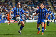 Gillingham FC forward Tom Eaves (9) controls the ball watched by Gillingham FC midfielder Dean Parrett (8)  during the EFL Sky Bet League 1 match between Gillingham and Southend United at the MEMS Priestfield Stadium, Gillingham, England on 13 October 2018.