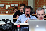 Stuart Pearce in the press box during the EFL Carabao Cup 2nd round match between AFC Wimbledon and West Ham United at the Cherry Red Records Stadium, Kingston, England on 28 August 2018.