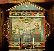Jesus on cross, art painting. The 12th century Borgund Stave Church (stavkirke or stavkyrkje) is the best preserved of Norway's 28 remaining stave churches. Borgund, Lærdal municipality, Sogn og Fjordane county, Norway