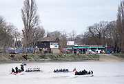 Putney. LONDON. GREAT BRITAIN. Both Crews racing along Putney embankment [Hard] Oxford [forground], . Pre Boat race Fixture, Oxford University Women's Boat Club vs Molesey Boat Club, over the Championship Course, Putney to Mortlake.<br /> <br /> Sunday  28.02.2016<br /> <br /> [Mandatory Credit; Peter SPURRIER/Intersport Images]