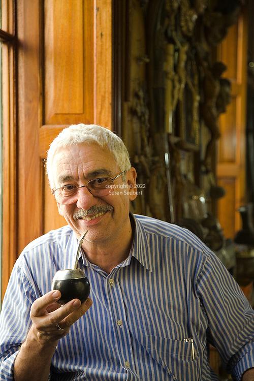 Juan Carlos Pallarols enjoys yerba matte at his studio in San Telmo, Buenos Aires