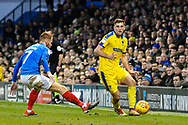 Ben Purrington (3) of AFC Wimbledon on the attack goes past Tom Naylor (7) of Portsmouth during the EFL Sky Bet League 1 match between Portsmouth and AFC Wimbledon at Fratton Park, Portsmouth, England on 1 January 2019.