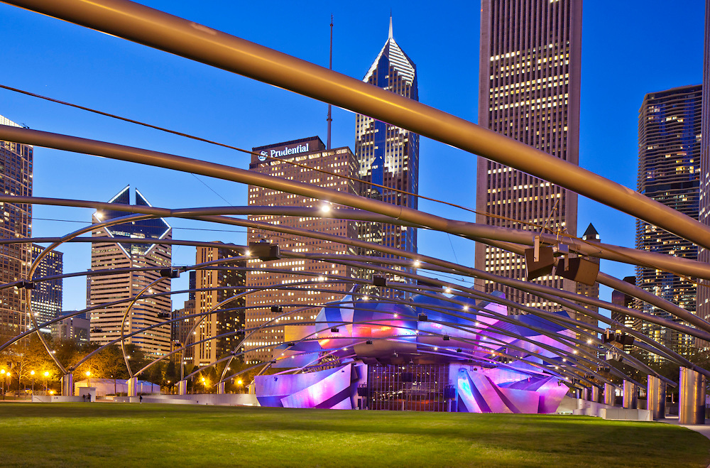 Pritzker Pavillion, in Chicago, USA's Millennium Park designed by Frank Gehry, architect; photographed by Wayne Cable - Chicago travel Photography