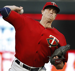 September 12, 2017 - Minneapolis, MN, USA - Minnesota Twins pitcher Kyle Gibson throws against the San Diego Padres at Target Field in Minneapolis on Tuesday, Sept. 12, 2017. (Credit Image: © Richard Tsong-Taatarii/TNS via ZUMA Wire)