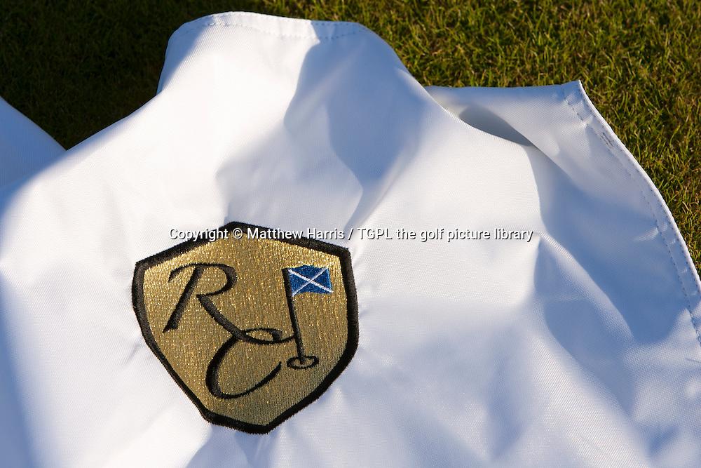 Club logo on flagstick at The Renaissance Club during summer,East Lothian,Scotland.