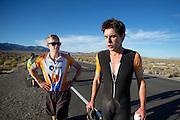 Jan Bos (rechts) wordt na afloop van zijn race begeleidt door Kai. In de buurt van Battle Mountain, Nevada, strijden van 10 tot en met 15 september 2012 verschillende teams om het wereldrecord fietsen tijdens de World Human Powered Speed Challenge. Het huidige record is 133 km/h.<br /> <br /> Jan Bos is supported after his race by Kai. Near Battle Mountain, Nevada, several teams are trying to set a new world record cycling at the World Human Powered Vehicle Speed Challenge from Sept. 10th till Sept. 15th. The current record is 133 km/h.