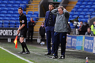 Cardiff City manager Neil Warnock (r) holds his head in his hands during the game as his team are losing 1-2. . The Emirates FA Cup, 3rd round match, Cardiff city v Fulham at the Cardiff city stadium in Cardiff, South Wales on Sunday 8th January 2017.<br /> pic by Carl Robertson, Andrew Orchard sports photography.